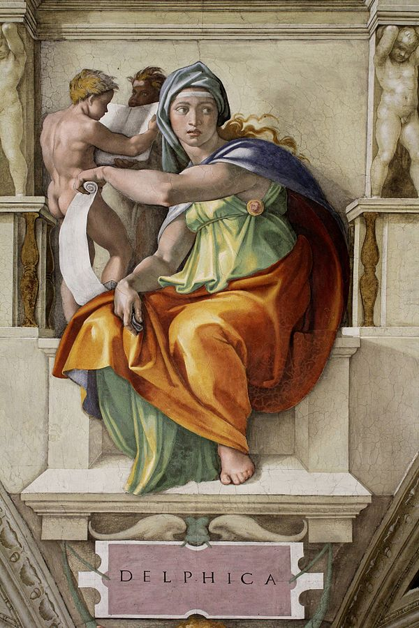 Delphic Sibyl, fresco painted by Michelangelo (1475-1564), Sistine Chapel Ceiling (1508-1512) Rome, Vatican